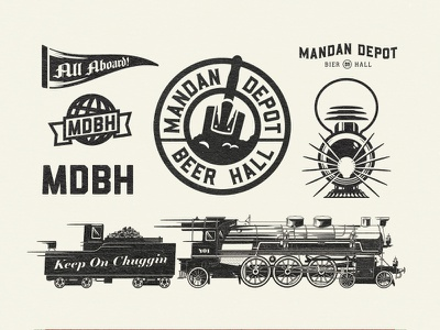 Mandan Depot Bier Hall icon set logo illustration branding icon lantern beer train