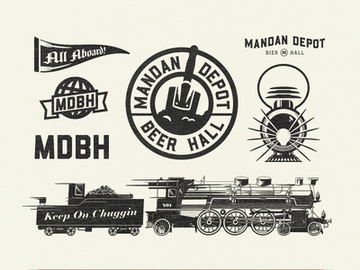 Mandan Depot Bier Hall icon set logo illustration branding icon lantern beer train