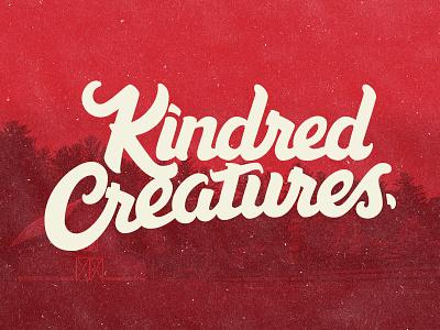Kindred Creatures Logo animal farm brush script hand lettering farm script brush creatures red animals lettering