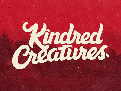 Kindred Creatures Logo animal farm brush script hand lettering farm script brush creatures red animals lettering