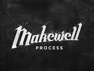 Makewell Process hand lettering chalk lettering design logo lettering calk process