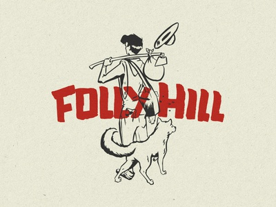 Follyhill retro design retro logo mistake retro logo farmer dog farm