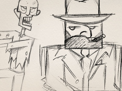 Mobsters, Zombies, and Ninjas... of course concept sketch pencil ninja animation character design mobster zombie