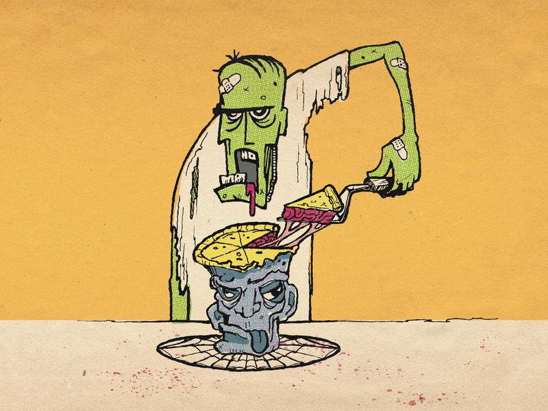 Brain Pie undead zombie pie brain inktober