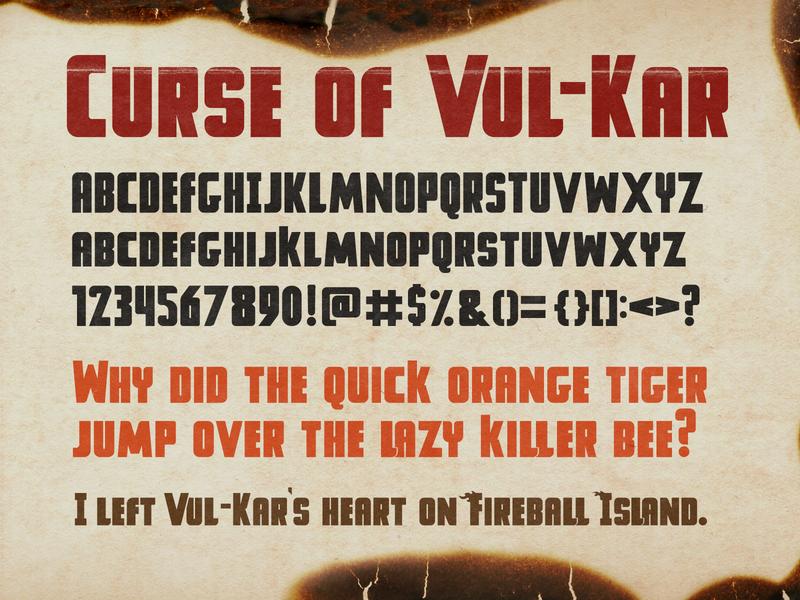 Curse Of Vul Kar Font free graphic design island fireball fireball island typography design typography custom type font typeface