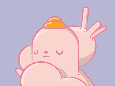 """Anxiety Worker"" vector art vector illustration pink vinyl toy color design logo vector illustration"