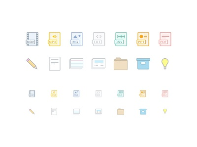 Icons for iOS icons ios app pencil drafts note cards folder archive audio image pdf