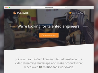 Crunchyroll Jobs Page anime photo tabs button photos type icons website