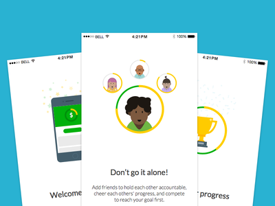 Goals money goals flow on boarding mobile users illustration iphone ios