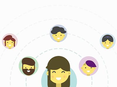 Network peeps faces simple beard vector fun smile flat illustration people