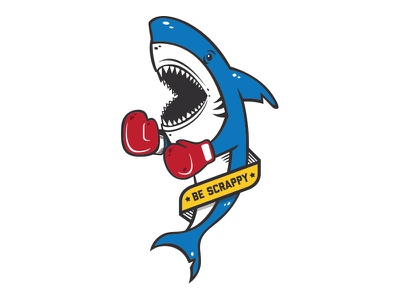 Scrappy 2.0 banner boxing shark type brand icon graphic sticker games illustration vector