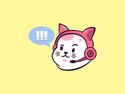 Kat Streamer graphic sticker logo drawing cat vector design illustration