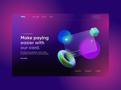 Wallet - Online banking wallet card bank creative ui 3d abstract figma design concept