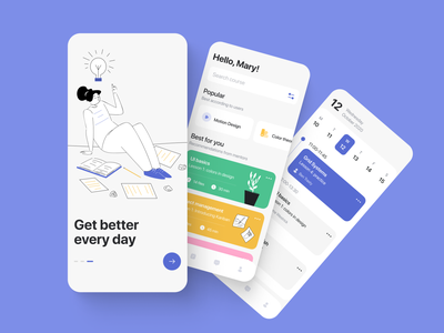 Education: Online Course Mobile App graphic design study course learning ui ux app application illustration abstract figma design creative concept