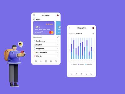 my wallet figma creditcard bills payment app payments finance app finance mobile app mobile wallet banking bank vector illustration ux ui design