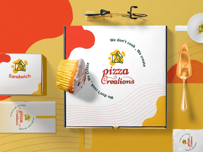 Pizza Creation Branding typogaphy type restaurant brand identity pizzeria pizzalogo pattern package design illustraion food fastfood branding