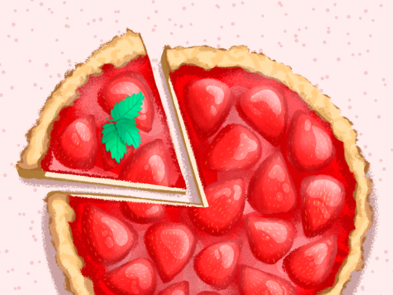 Strawberry cheesecake cake cheesecake food food art art painter illustration
