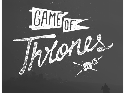 GOT G.O.T. game of thrones type script handmade handwritten grunge bleed distress flag banner skull crown