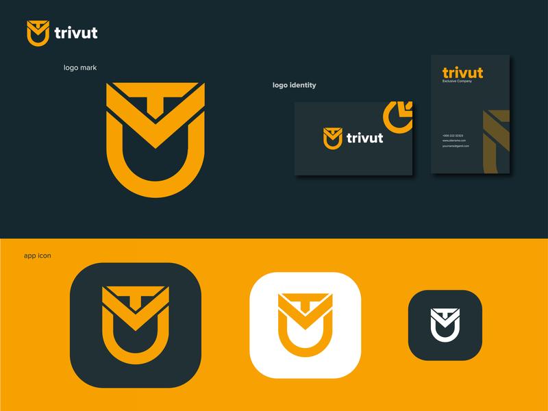 Letter TVU logo with monogram applogo logomark startup enterpreneur minimalist logo simple logo business vector logo design branding brand identity mockup monogram lettering logo tvu letter