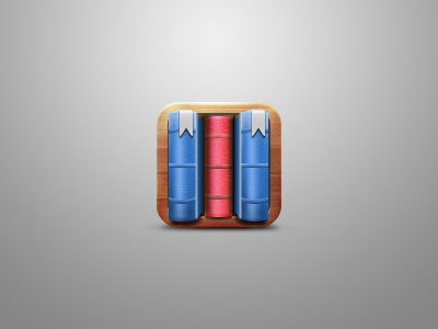 Bookmark app bookmark wood books blue red