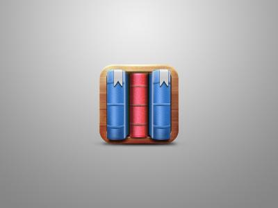 Bookmark app bookmark wood books blue red