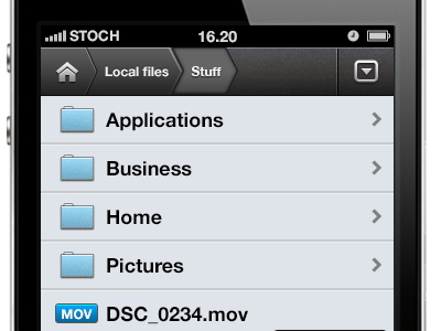 File Manager app file manager ios user interface mobile