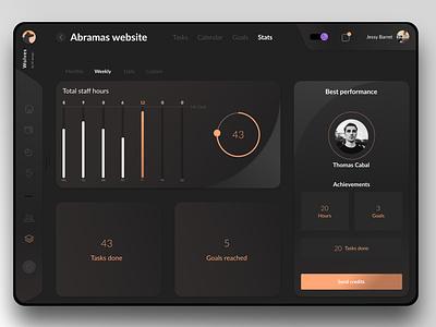 Workspace app concept exploration orange application appdesign cards ui concept dark ui dark app darkmode app workspace dashboard interface minimal minimalist modern dailyui ui uxui ux night mode