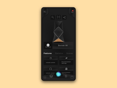 Dark theme Intelligent object control application AVA 2.0 black smarthome objects minimal interface shadow ux concept uiux ui control modern artificialintelligence simple voice assistant app dark night mode darktheme dark ui