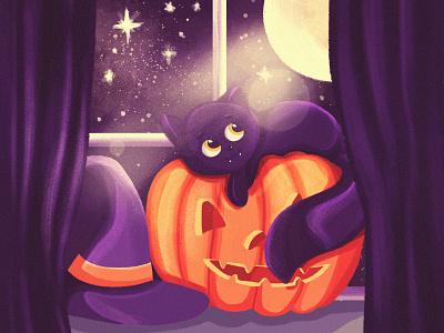 Halloween kitty 🎃 👻 🐱 spooky halloween design weeklywarmup pumpkin cat halloween design illustration
