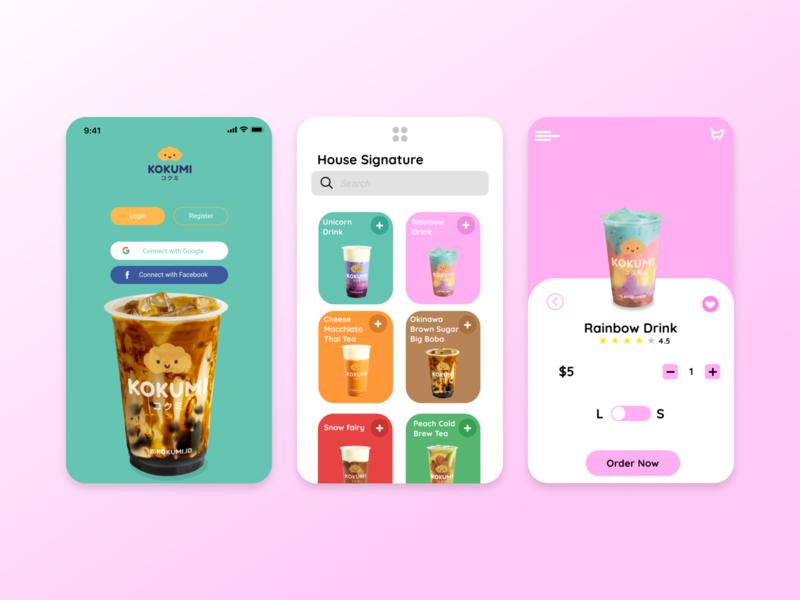 UI UX Kokumi ux design ui design mobile app design mobile ui drinks kokumi drink uiux