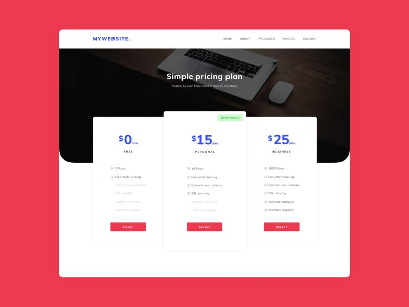 Pricing page landing page cost pricing page pricing money desktop clean price design landing web ui page
