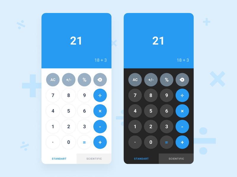Calculator App    Light / Dark Mode blue numbers ui design calculator design daily ui concept figma design app calculator app ui clean calculator