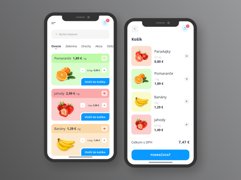 Grocery Delivery Mobile App banana grocery app application product design minimal food delivery mobile app clean store uiux ui ios shop interface food ecommerce fruit app fruit design app
