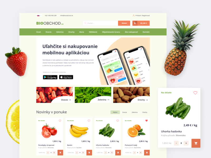 Grocery Shop landing page fresh typography healthy slovakia bio nuts vegetables fruit grocery website interface webdesign ux ui creative web landing page design eccomerce shop