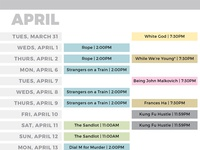 Philly Roxy Film Guide Calendar