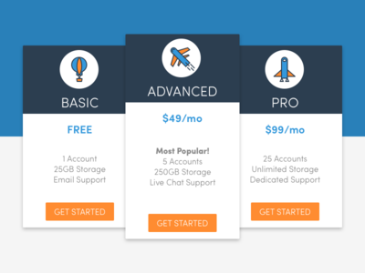 Pricing Page icons prices pricing cards ui