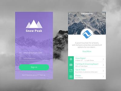 Snow Peak Mobile App Concept snowboarding skiing outdoors ios ui mobile