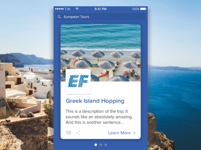 Vacation Tours Mobile App #1 island ocean greece carousel cards ui mobile tours vacation travel