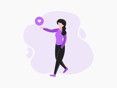 Sharing Love ui purple heart vector minimal graphic design girl flat design art illustrator illustration adobe