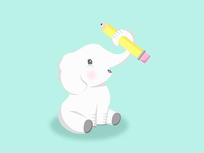 Smart Elephant character animal elephant vector flat minimal graphic design design adobe illustrator illustration