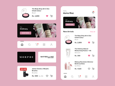 E-commerce App home screen ux minimal ui design mobile app cosmetics ux design android app design ui design ui ux design ui ux figma