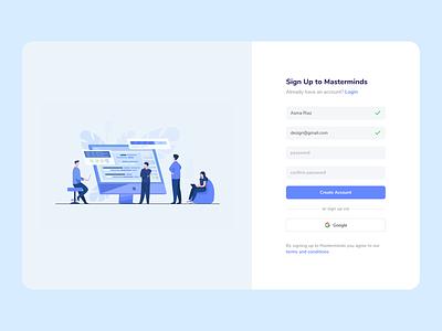 Sign Up daily ui sign up desktop website ux figma illustration minimal ui design