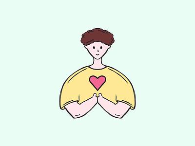 Choose Love character design doodle graphic design art cute art graphics procreate cute love boy character flat minimal design illustration