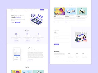 Landing Page company purple service website ui ux ux minimal figma ui design