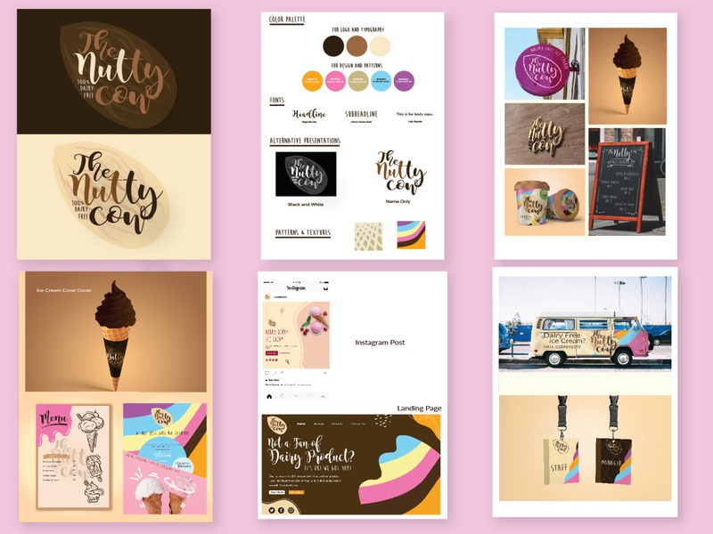 Logo Design and Branding Project The Nutty Cow illustrator design graphic design typography logo