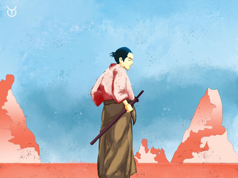 Samurai on the Desert digital art digital painting painting photoshop illustration design character