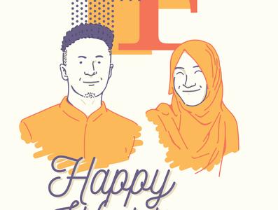 Wedding Gift Illustration for Friend font design line art flat digital painting digital art illustration design character