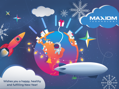 Happy New Year 2017 spaceman moon gifts rocket fly star wishes  startup design branding new year greeting card new year card