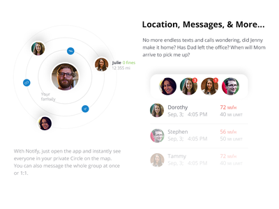 Notify / Locations, Messages and more… recent limit ios app andorid app pick me up home calls texts message map instantly