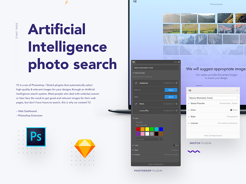 YZ - Artificial Intelligence Photo Search by George Railean on Dribbble